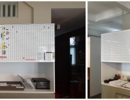 Conversion of cabinet door to Visual Magnetics<br /> printed grid line whiteboard