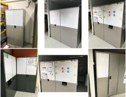 Conversion of metal cabinet to whiteboard <br />space at MOE School