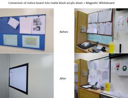 Conversion of notice board into matte black<br /> acrylic sheet + Magnetic Whiteboard
