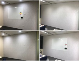 Magnetic Brick-wall wallpaper with Magnetic<br /> whiteboard overlay