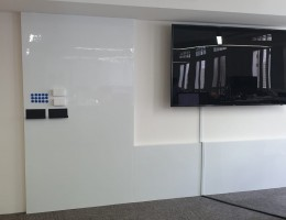 Magnetic Whiteboard with TV monitor<br /> at financial office