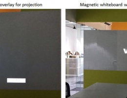 Magnetic whiteboard with center matt<br /> overlay for projection