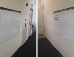 Printed magnetic whiteboard with overlays at Raffles Place