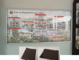 Custom made display board with magnetic wallpaper and magnetic photo frames