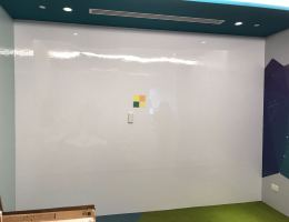 See our customized wall to wall <br />magnetic whiteboard installed at Daimler