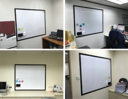 23 m sq (12 rooms) Visual Magnetics Premium<br> Series whiteboard system with border frames