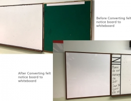 Converting felt notice board to whiteboard