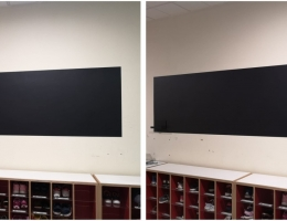 Magnetic chalkboard at learning centre