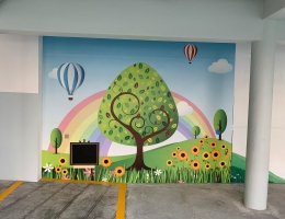 VM premium Magnetic Mural wall at MOE<br> school with chalkboard