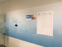 Blue magnetic white board 1.5x4.1 m long<br>@ Tuas project