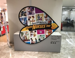 Roving exhibit featuring magnetic graphic display<br> at Mount Alvernia Hospital