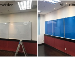 Conversion of whiteboard to full blue<br> magnetic whiteboard